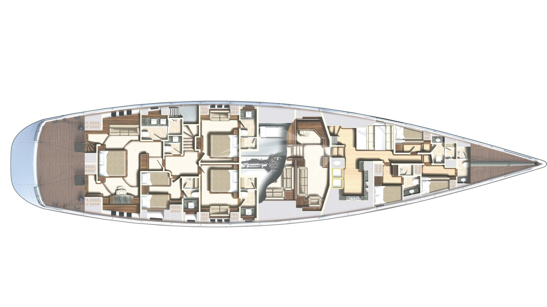 Luxury charter yacht layout diagram for TWILIGHT