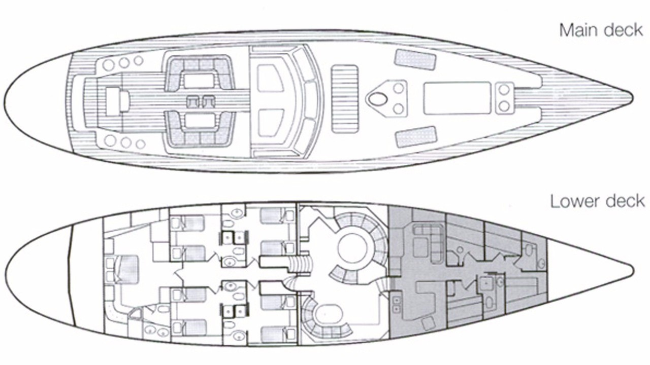 Luxury charter yacht layout diagram for REE
