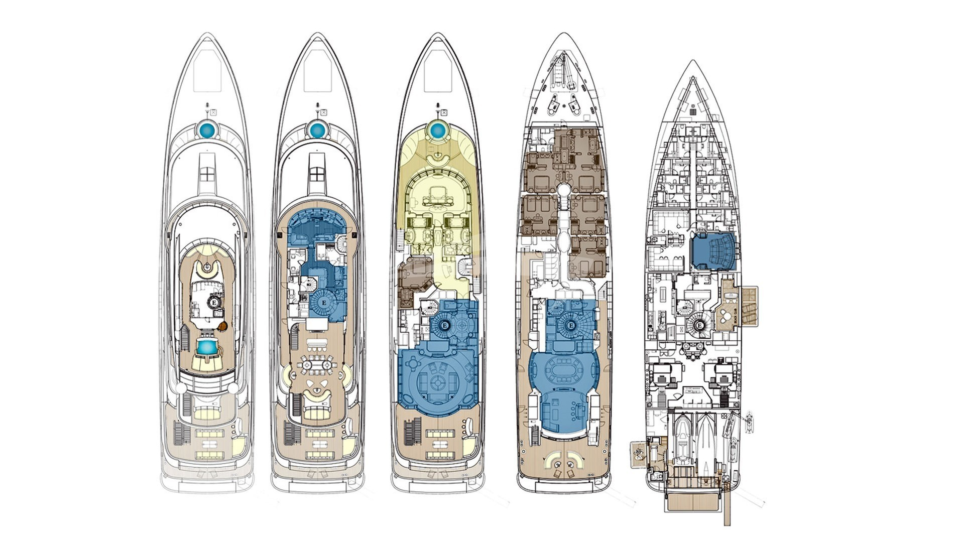 Luxury charter yacht layout diagram for EXCELLENCE V